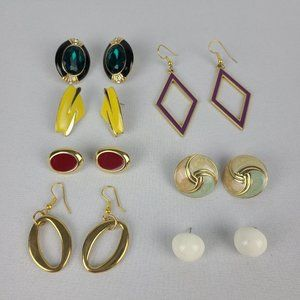 Retro Gold Tone Earrings Lot